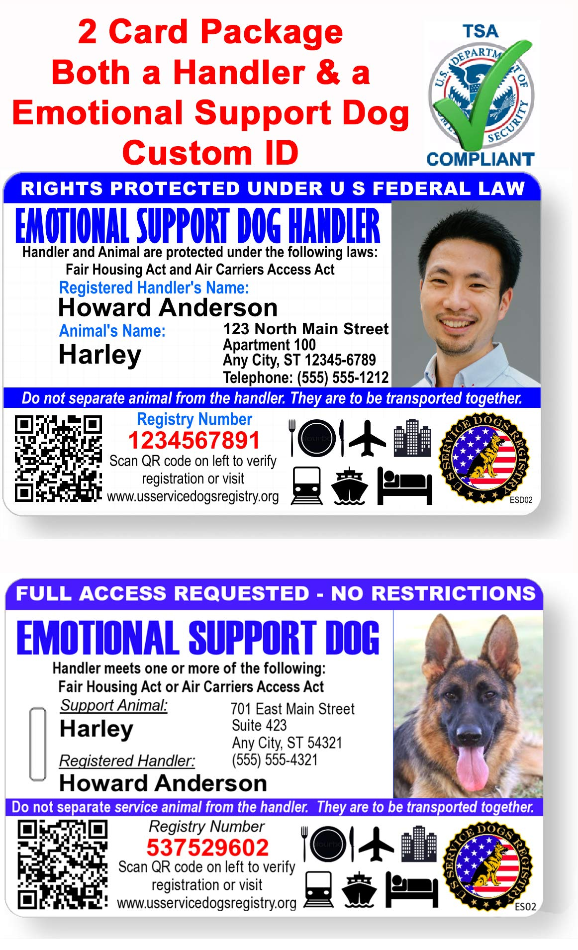 ust 4 Paws Custom Holographic QR Code Emotional Support Dog ID Card with Registration to Service Dogs Registry with Strap - Landscape Style (Emotional Support Dog and Handler Photo ID)