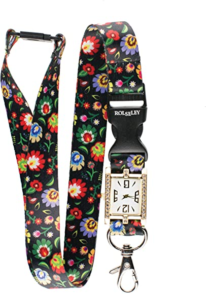 Correa para el cuello con diseño de flores y patrón folk, reloj de enfermeras integrado, correa para el cuello: Amazon.es: Relojes