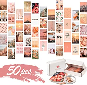 KOSKIMER Peach Pink Aesthetic Photo Collage Kit, 50 Set 4x6 Inch Wall Collage Kit Aesthetic Pictures, Bedroom Decor for Teen Girls, Beach VSCO Posters for Dorm Room Decor, Aesthetic Collage Kit