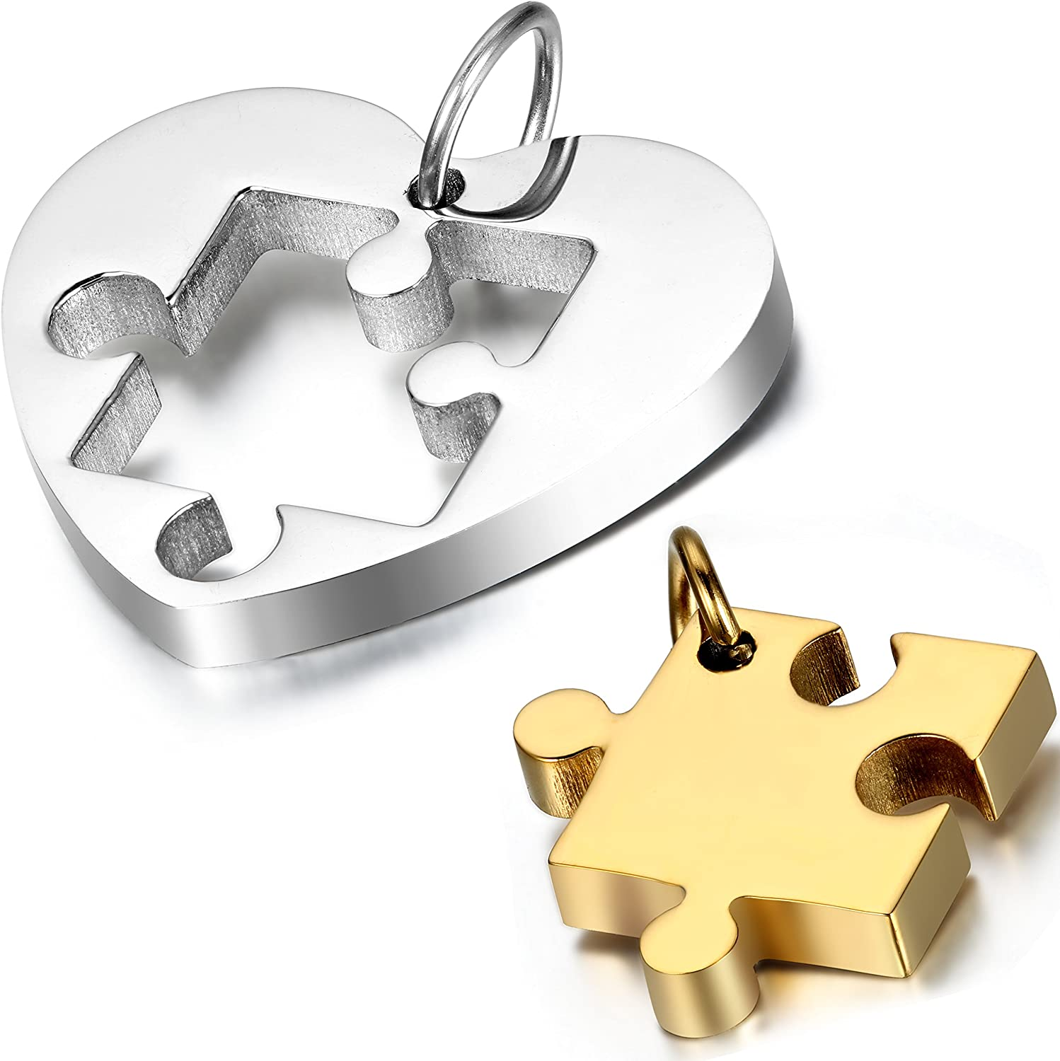 OIDEA 2PCS Stainless Steel Couples Love Heart Puzzle Pendant Necklace for Valentines Day,Chain Included, with Gift Bag Package,Black