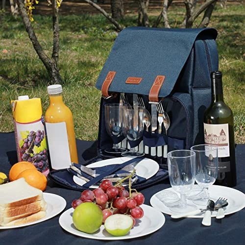 Insulated Cooler Backpack, Picnic Bag for 4 Person with Large Cooler Compartment, Waterproof and Sandproof Fleece Blanket, Plates and Cutlery Set for Camping, Beach Trips, Festivals NAVY BLUE
