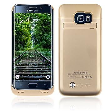 SAVFY - Funda Batería Samsung Galaxy S6 Edge , Externa Recargable Batería Cargador Case Cascara 4200 mAh para Samsung Galaxy S6 Edge (Oro)