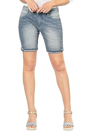 Sublevel helle Damen 5 Pocket Jeans Bermuda mit Aufschlag