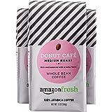 AmazonFresh Donut Cafe, 100% Arabica Coffee, Medium Roast, Whole Bean, 12 Ounce, Pack of 3