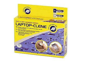 AF Laptop Clene Twin Sachet - Sistema para limpieza de pantallas y teclados con toallitas húmedas y secas (10 unidades): Amazon.es: Oficina y papelería