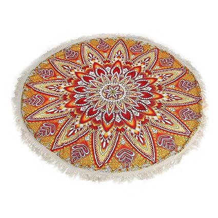 Tongshi Ronda del Hippie de la borla de la tapicería de la playa banda Mandala Toalla Yoga Mat Bohemia (C): Amazon.es: Ropa y accesorios