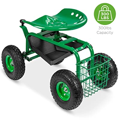 Best Choice Products 4-Wheel Garden Cart Mobile Rolling Work Seat w/Tool Tray