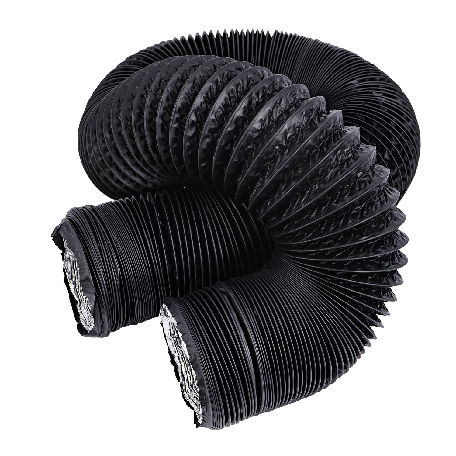 Hon&Guan 8 inch Air Duct - 32 FT Long, Black Flexible Ducting HVAC Ventilation Air Hose for Grow Tents, Dryer Rooms,Kitchen