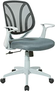 Office Star Padded Mesh Seat and Back Task Chair with Flip Arms and Grey Frame, Charcoal