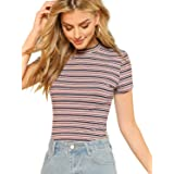 Milumia Women's Casual Multi Striped Ribbed Short Sleeve Solid Tee Knit Top