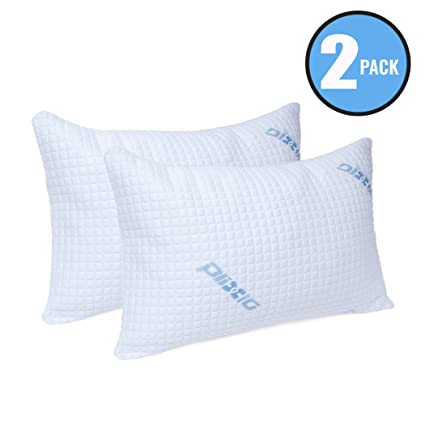 Deluxe Cooling Shredded Memory Foam Pillow with Bamboo Hypoallergenic  Cover- 2 Pack King