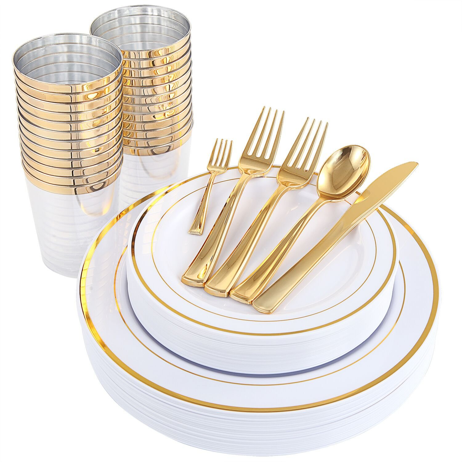 WDF 25Guest Gold Plastic Plates with Gold Silverware,Disposable Cups-include 25 Dinner Plates, 25 Salad Plates, 50 Forks, 25 Knives, 25 Spoons &Plastic Cups/Bonus 25 Mini Forks (Dinnerware) by WDF