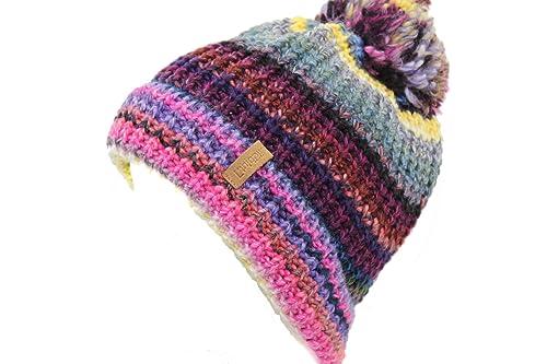 wildblut - Gorro de punto - para mujer Multicolor Blau/Pink/Gelb Talla única