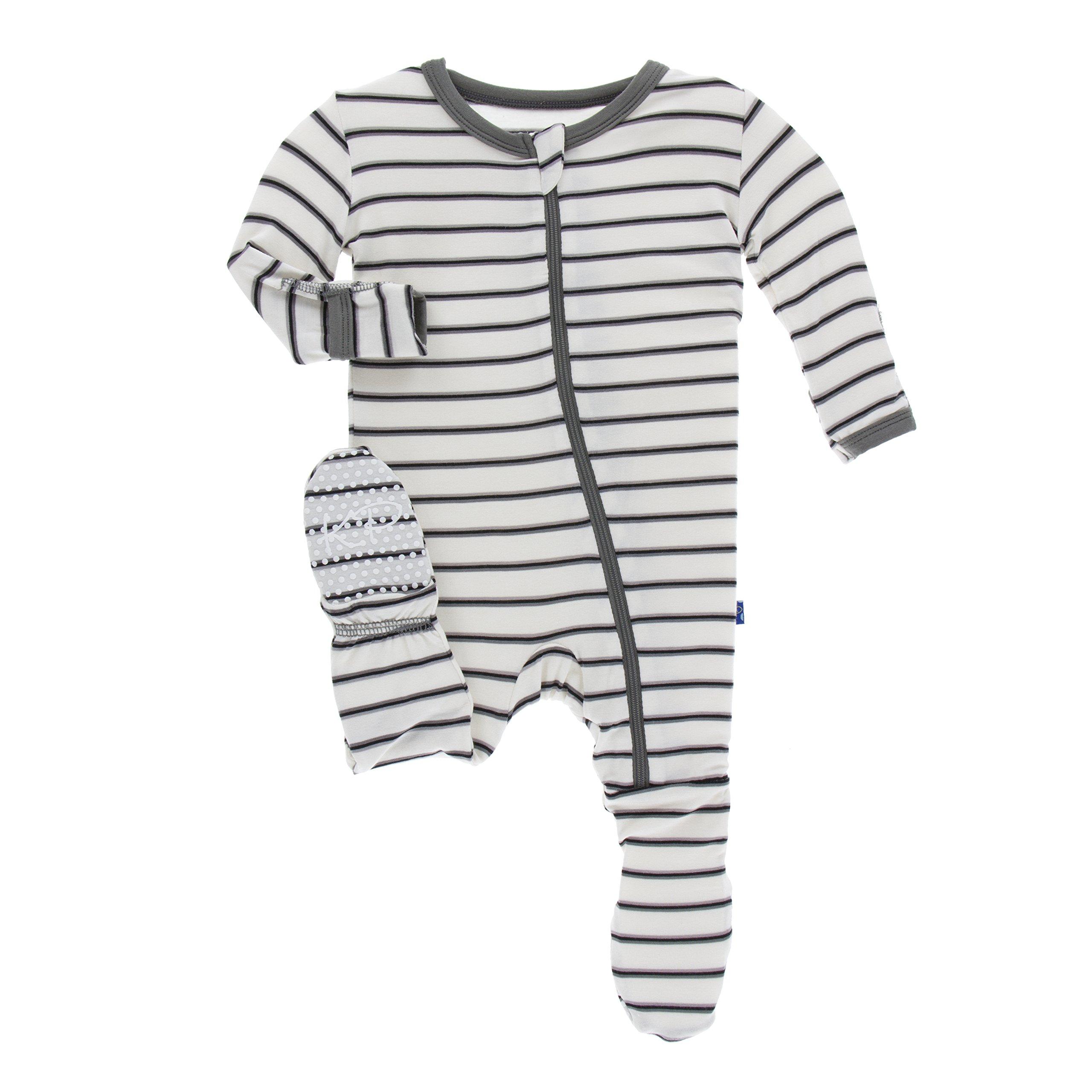 KicKee Pants Little Boys Print Footie with Zipper - Neutral Parisian Stripe, 18-24 Months