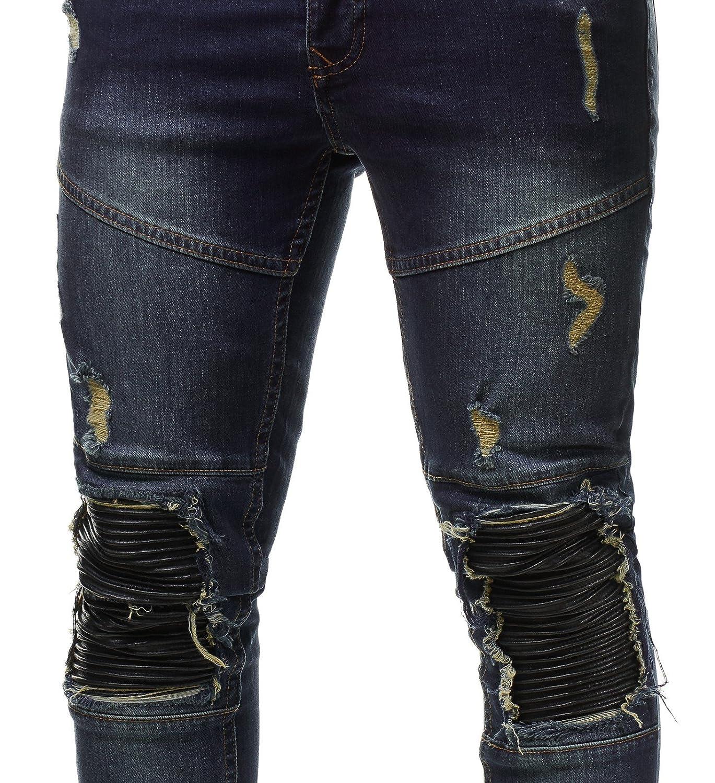 95d57e9e380f Uniplay Herren Jeans Hose Denim Slim Fit Zerrissen Gerippt Verwaschen  Schwarz UP22, Farbe Blau, Hosengröße W28  Amazon.de  Bekleidung