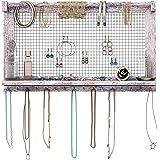 Rustic Jewelry Organizer – Wall Mounted Jewelry Holder w/Removable Bracelet Rod, Shelf & 16 Hooks – Perfect Earrings…
