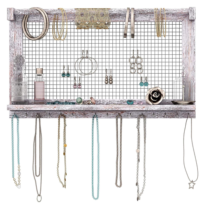 Comfify Rustic Jewelry Organizer – Wall Mounted Jewelry Holder w/Removable Bracelet Rod, Shelf & 16 Hooks – Perfect Earrings, Necklaces & Bracelets Holder – Bonus Bracelet Included– Rustic White