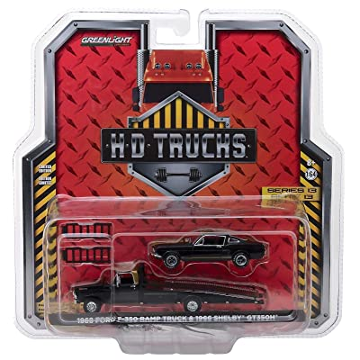 1968 Ford F-350 Ramp Truck and 1966 Shelby GT350H Black with Gold Stripes HD Trucks Series 13 1/64 Diecast Models by Greenlight 33130 A: Toys & Games