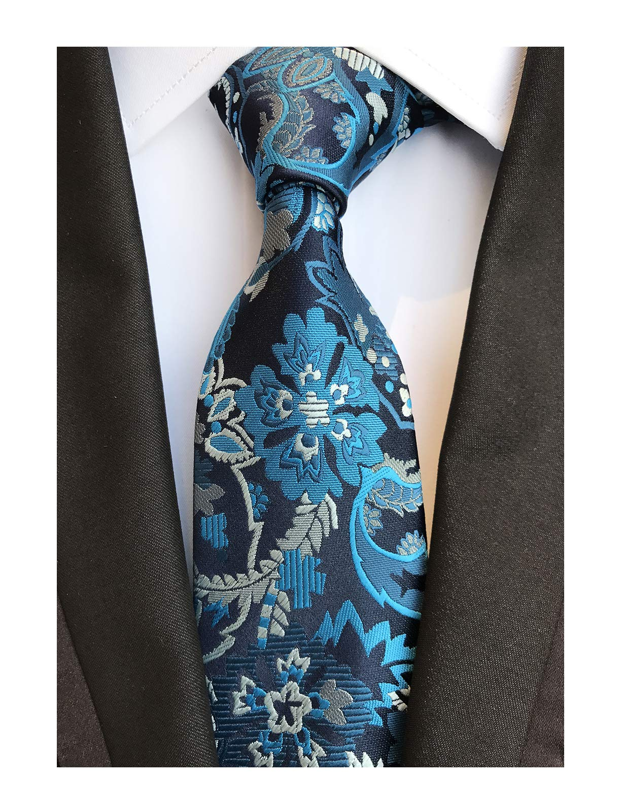 Men Cyan Blue Paisley Ties Handmade Elegant Party Luxurious Neckties for Big Boy