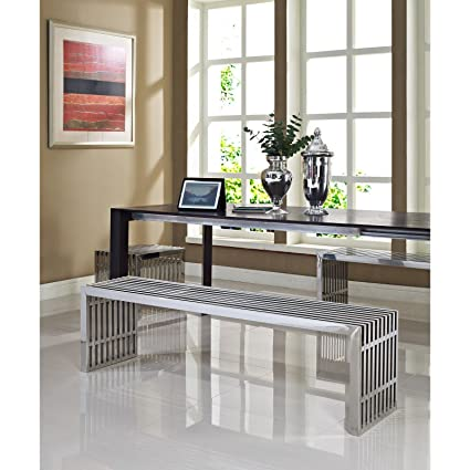 Modway Small Gridiron Stainless Steel Bench With Two Large Gridiron Stainless  Steel Benches