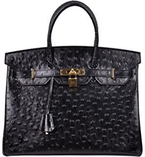 dec0a3312af Cherish Kiss Women s Handbags Top Handle Padlock Bags Genuine Leather  Embossed Ostrich Purses