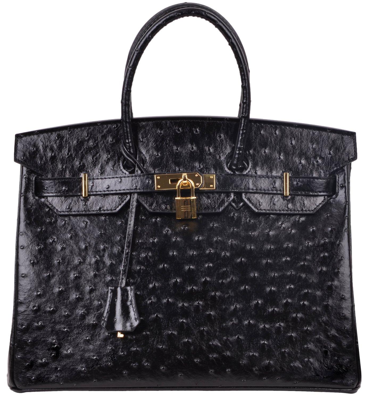 Cherish Kiss Luxury Women's Genuine Leather Embossed Ostrich Top Handle Padlock Handbags (35CM Ostrich, Black)