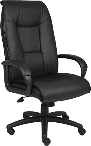 Boss Office Products Executive LeatherPlus Chair with Padded Arms and Knee Tilt in Black