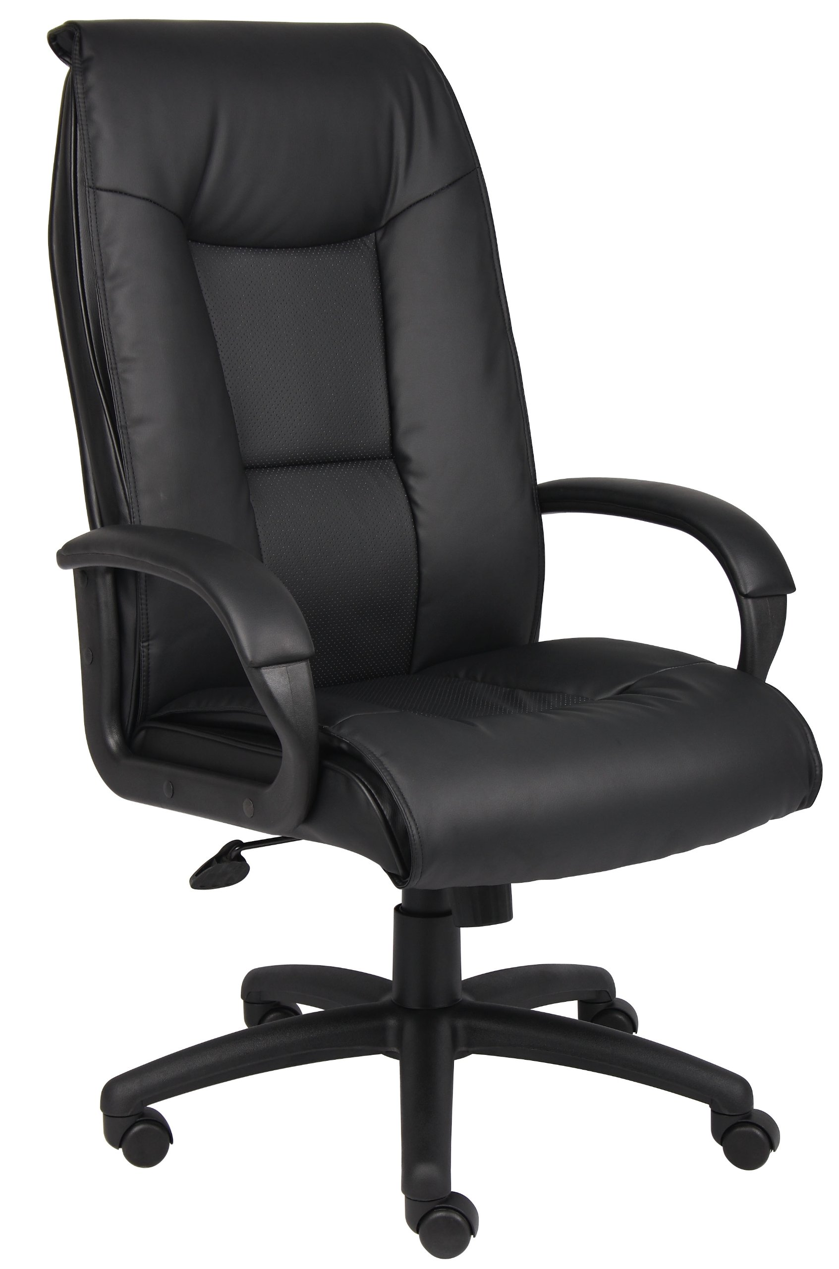 Boss Office Products B7602 Executive LeatherPlus Chair with Padded Arms and Knee Tilt in Black
