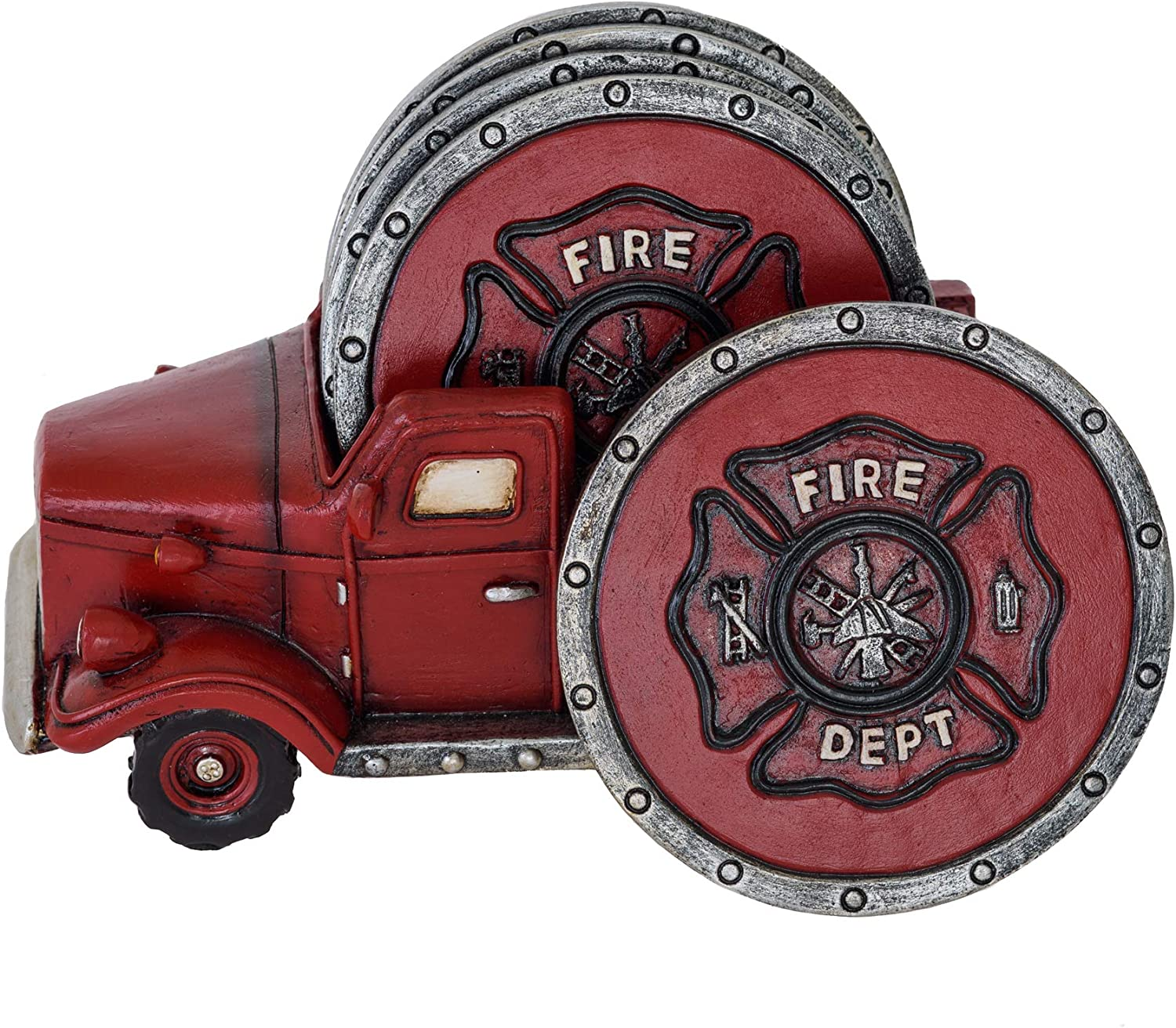 Amazon Com Fire Truck Coaster Set Of 5 Firefighter Kitchen Table Coasters Set Rustic Home Decor Living Room Firefighter Coaster Sets With Holder Dining Room Decor And Accessories Kitchen Dining
