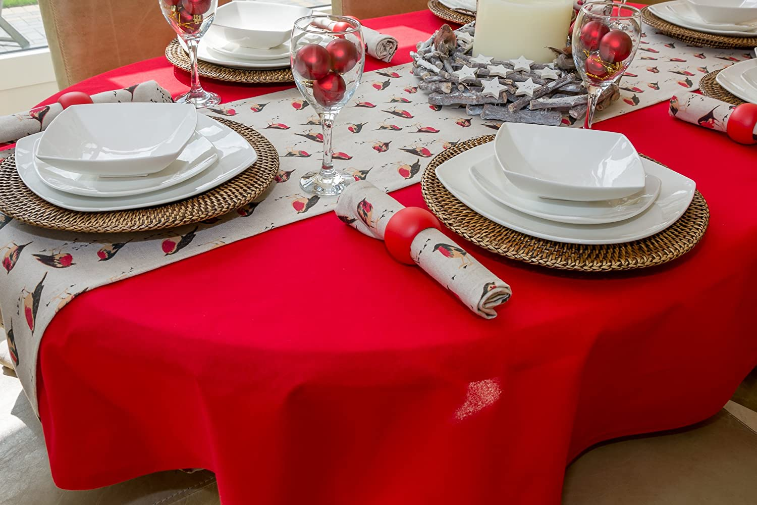 """59x90/"""" 150x230cm 6//8 CHRISTMAS OVAL TABLECLOTH WITH PARTRIDGE DESIGN"""