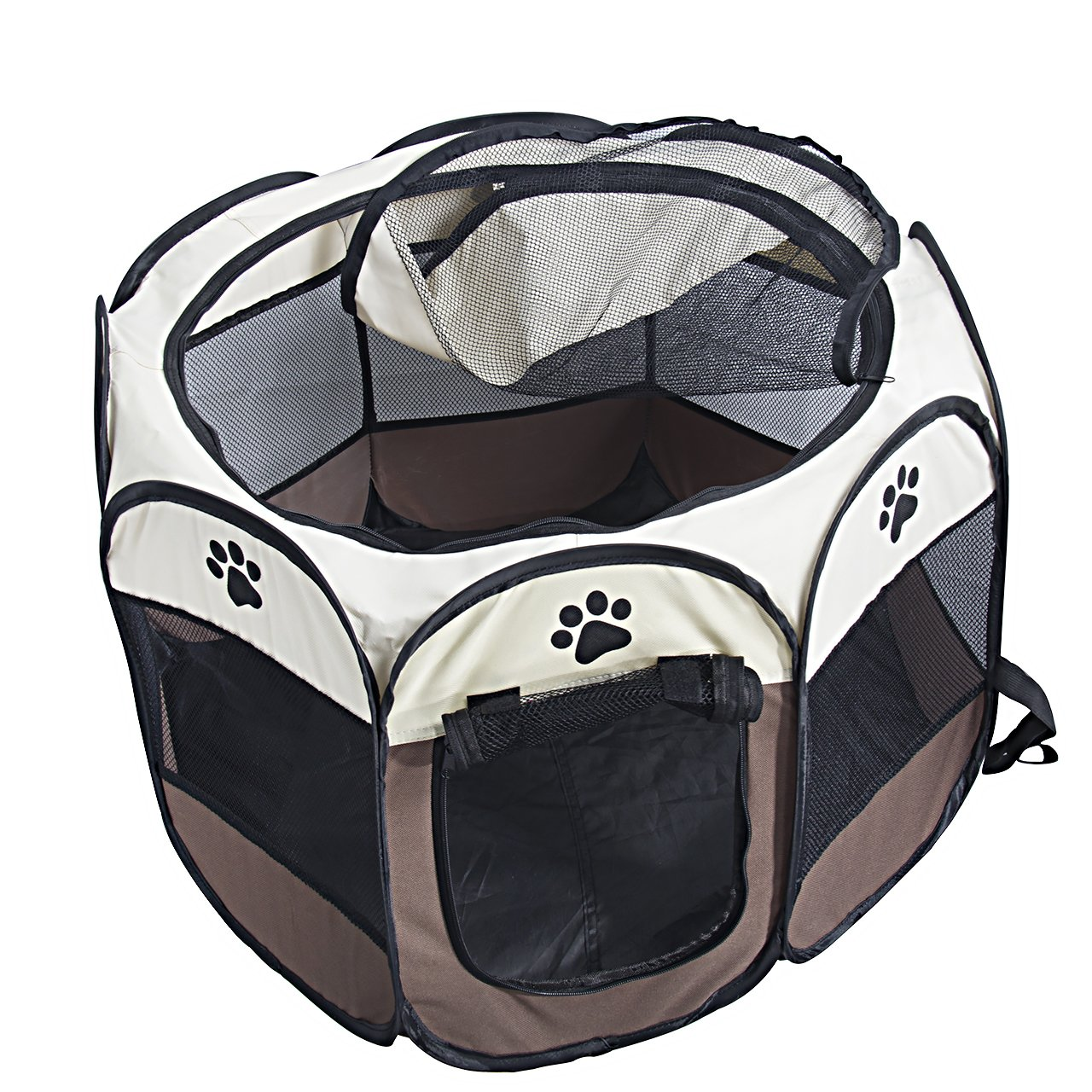 MiLuck Pet Portable Foldable Playpen, Exercise 8-Panel Kennel Mesh Shade Cover Indoor/outdoor Tent Fence For Dogs Cats(L/Brown) by MiLuck (Image #5)