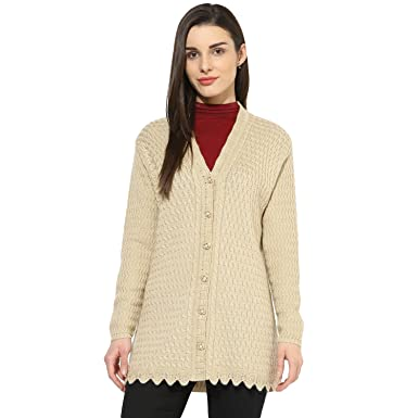 8176307e104a One Femme Women s Woollen Self-Design Solid Color Cardigan  Amazon.in   Clothing   Accessories