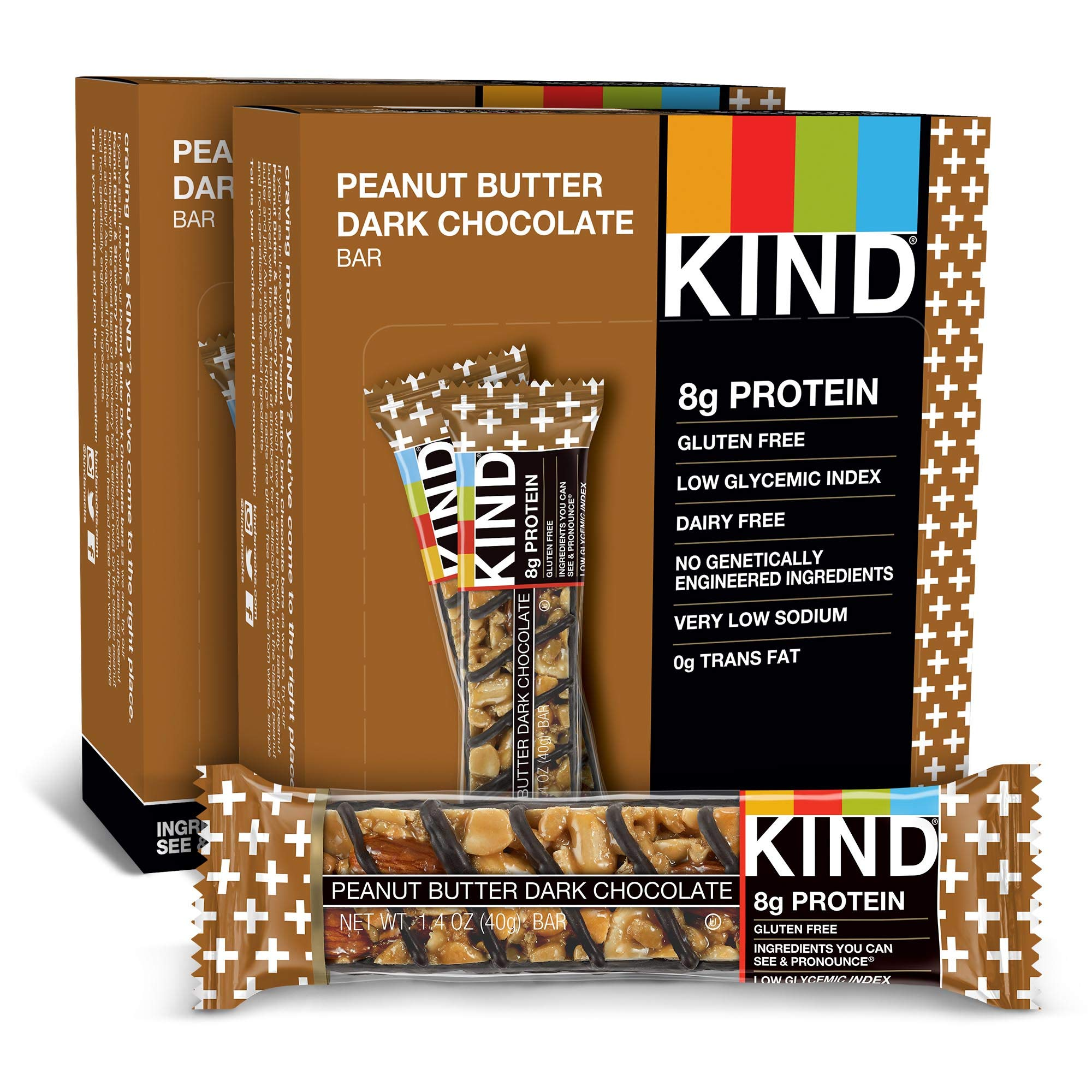 KIND Bars, Peanut Butter Dark Chocolate, 8g Protein, Gluten Free, 1.4 Ounce Bars, 24 Count