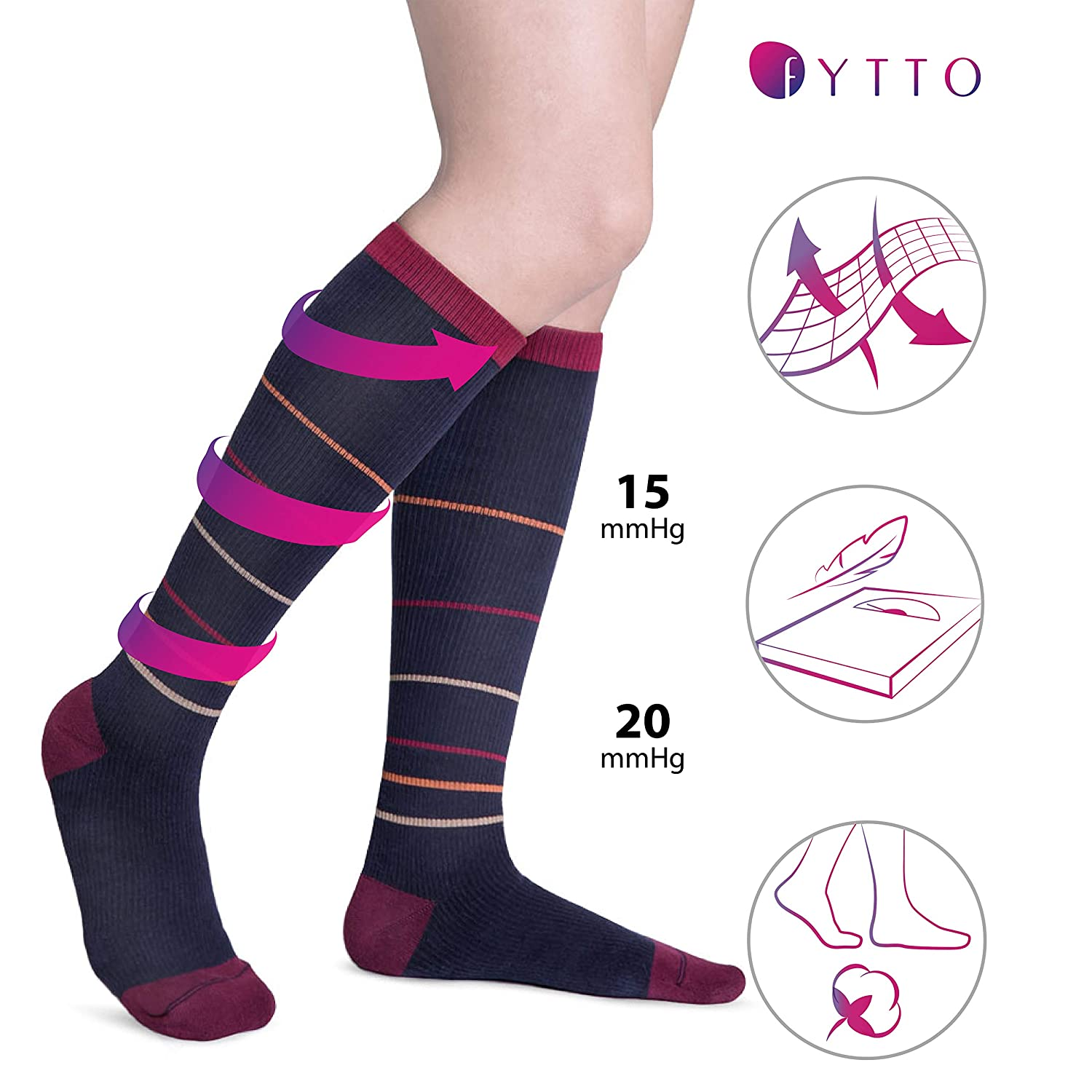 Buy Fytto 4080 Compression Socks Comfy Warm Graduated 15 20mmhg Knee High Hosiery A For Varicose Veins Improves Circulation Reduces Swelling And Energizes Legs Cozyfit Unisex Navy Striped Large Online At Low