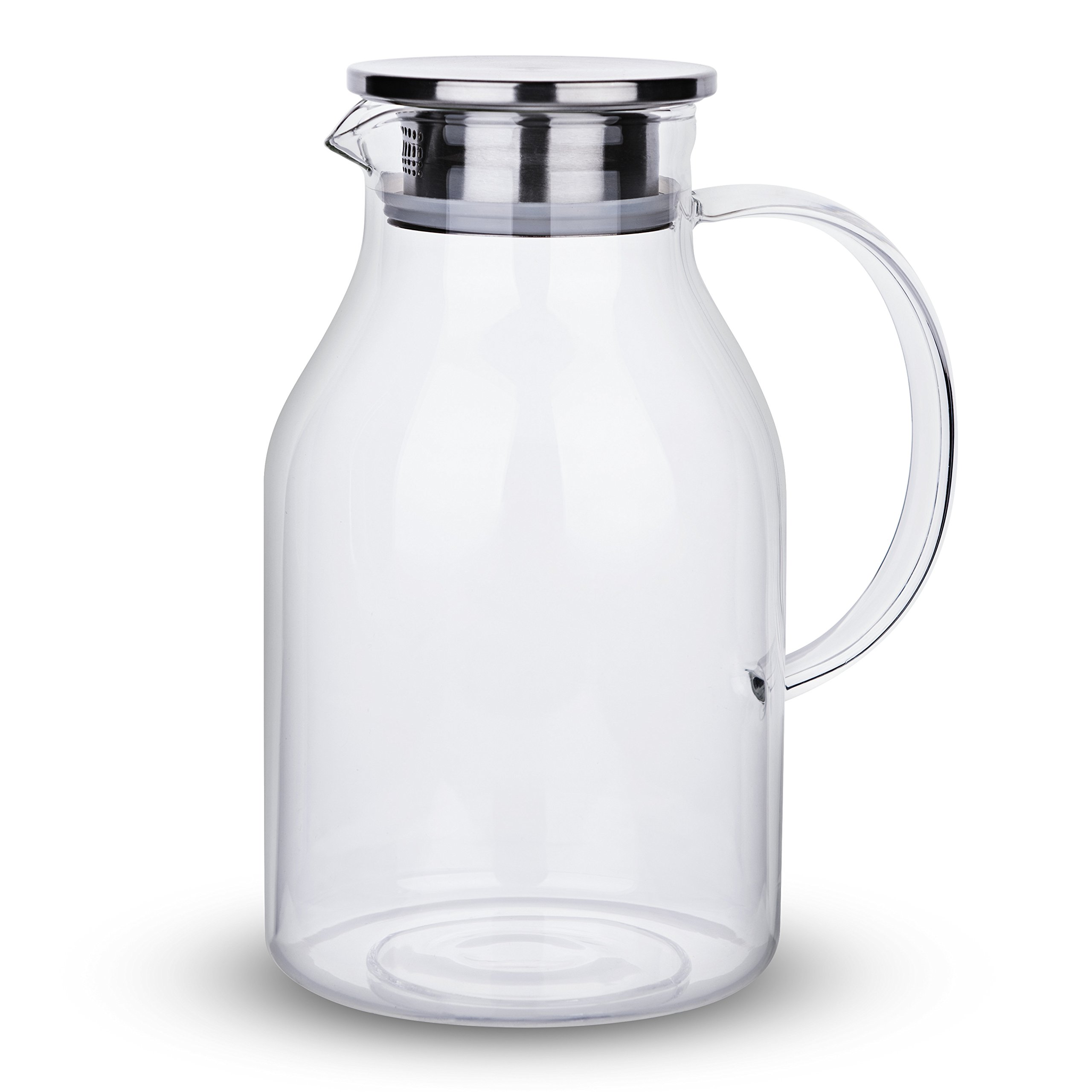 68 Ounces Glass Pitcher with Lid, Water Jug for Hot/Cold Water, Ice Tea and Juice Beverage by Karafu (Image #2)