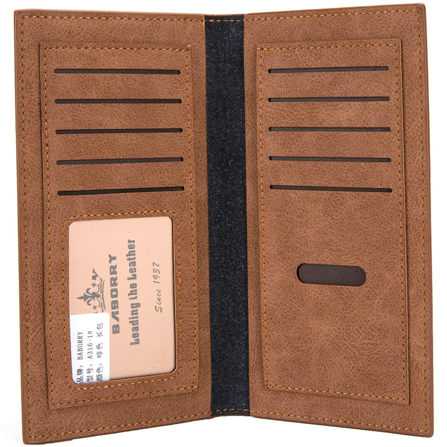 EoCot Mens Vintage Leather Long Wallets Bifold Wallet Nulti Card Holder with Photo Window