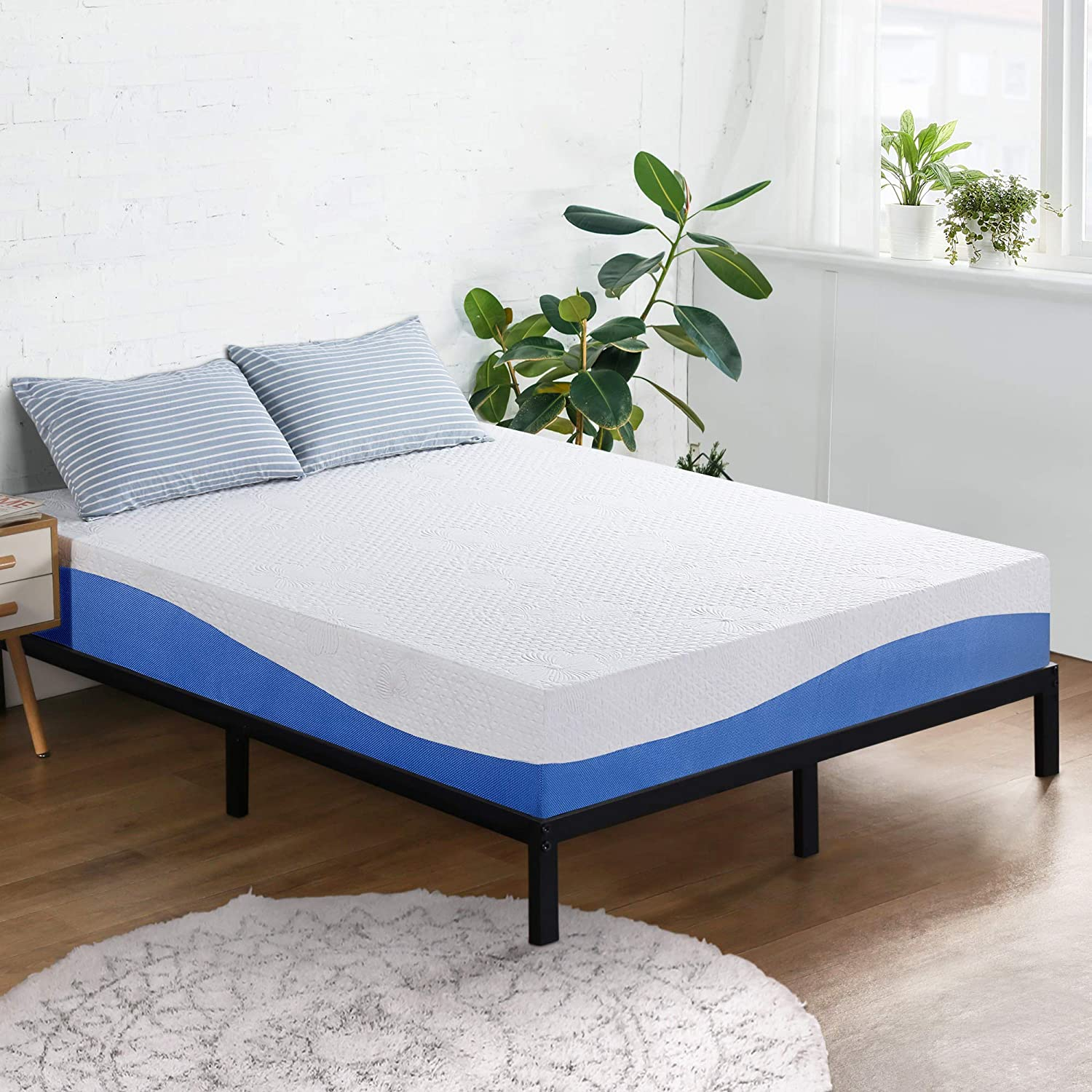 Olee Sleep Aquarius 10 Inch Memory Foam Mattress In Blue Queen Furniture Decor