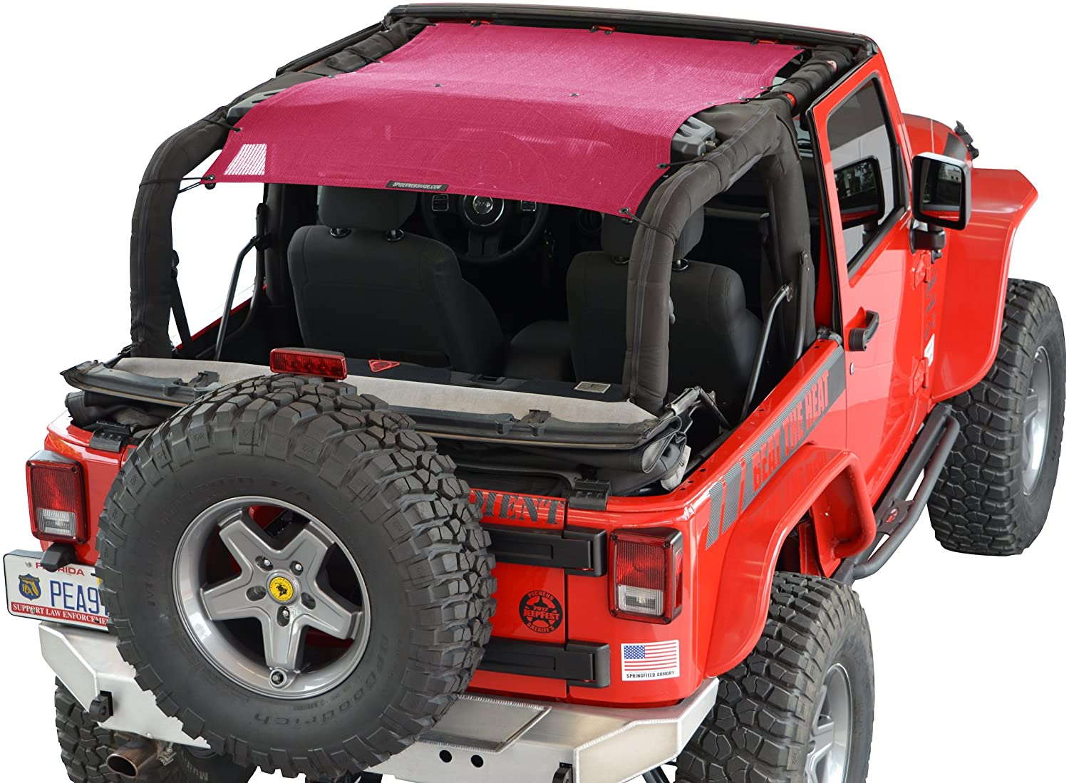 SPIDERWEBSHADE Jeep Wrangler Mesh Shade Top Sunshade UV Protection Accessory USA Made with 5 Year Warranty for Your JK 2-Door in Orange 2007-2018