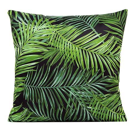 Funda de cojín tropical con diseño de hojas de plantas ...