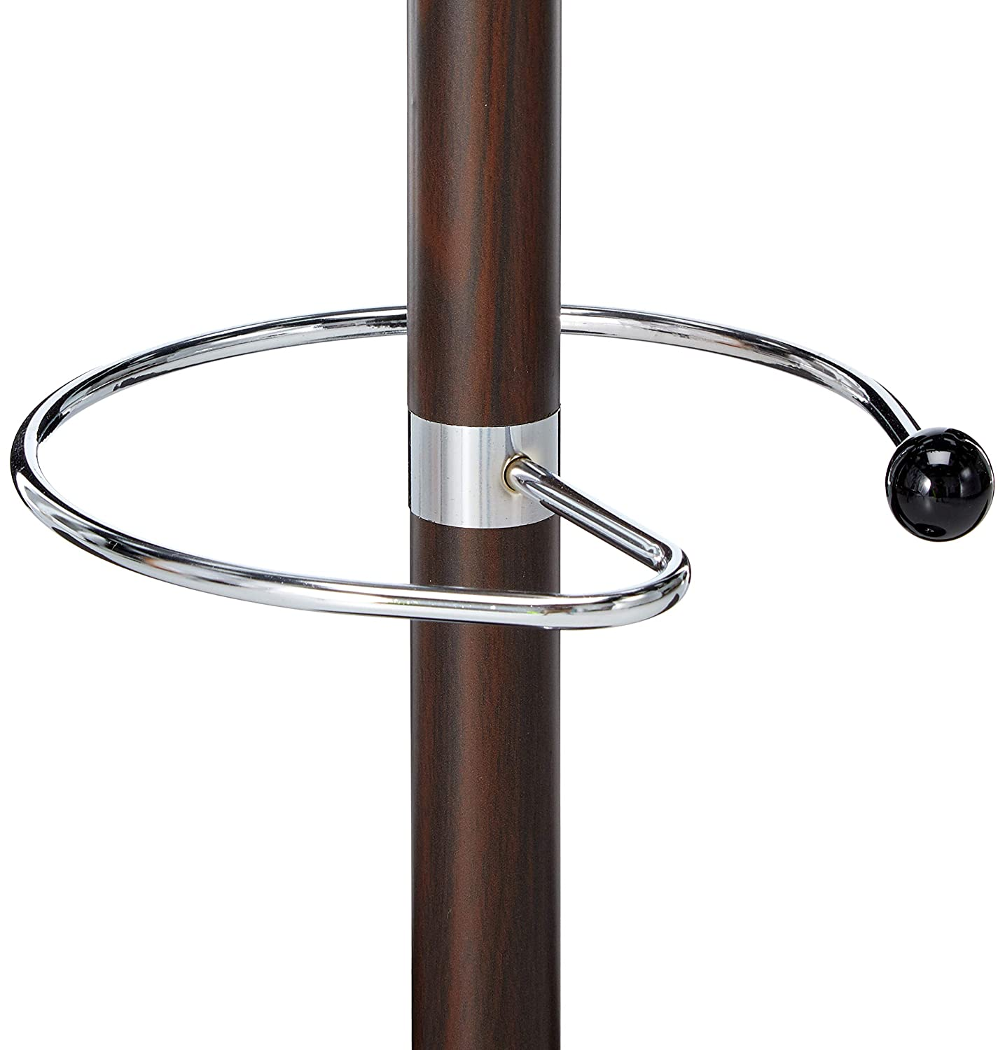 Uniware Heavy Duty Metal Coat Rack with PVC Coated with Umbrella Stand, 14 Hooks, 70 Inch, Stable Marble Base Stand, Brown