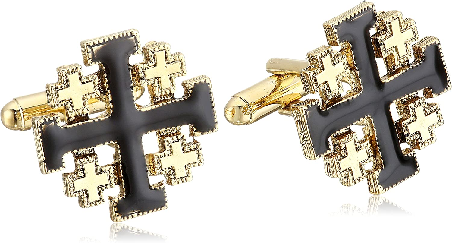 Symbols of Faith Unisex 14k Gold-Dipped Black Enamel Jerusalem Cross Cuff Links