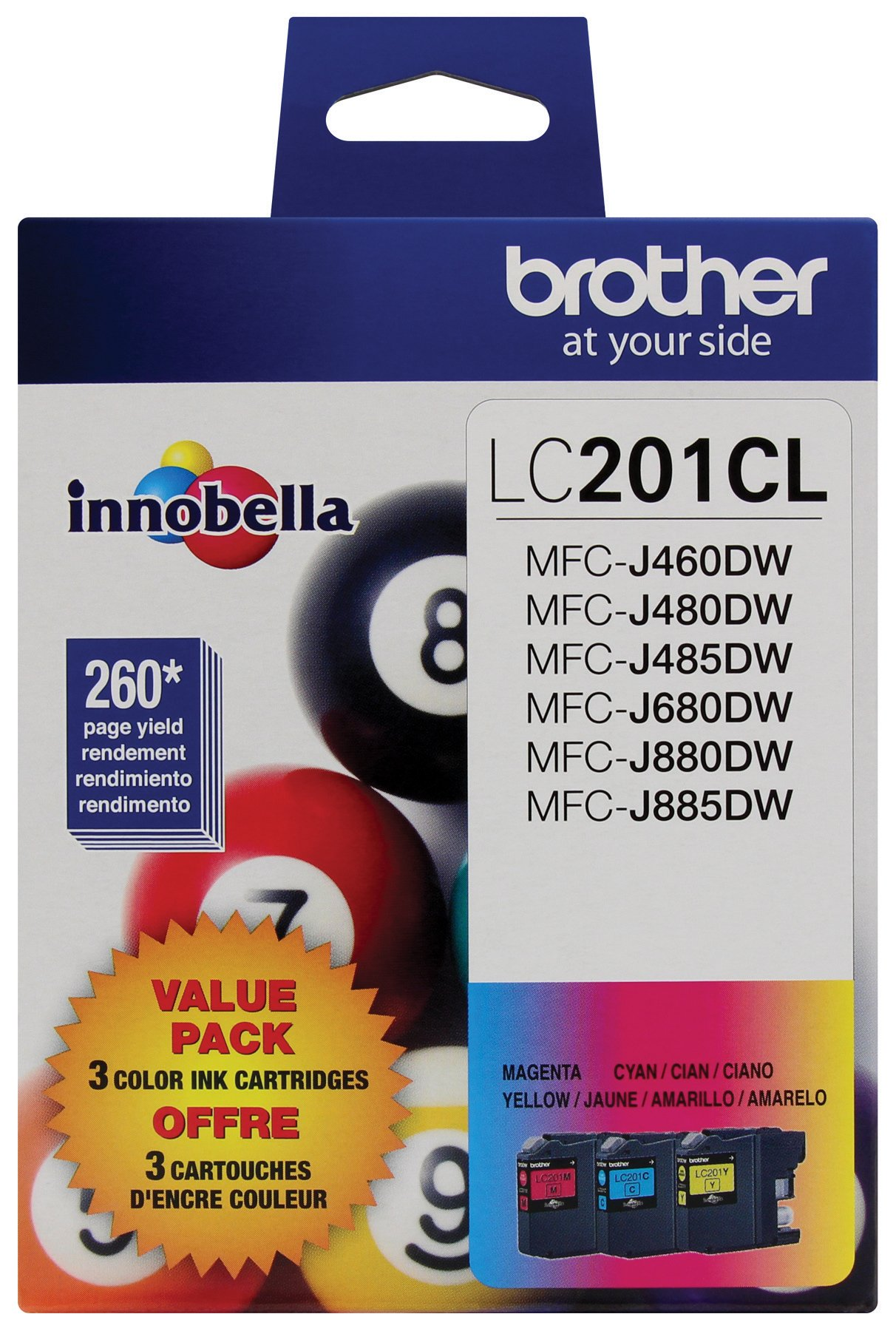 Brother Genuine Standard Yield Color Ink Cartridges, LC2013PKS, Replacement Color Ink Three Pack, Includes 1 Cartridge Each of Cyan, Magenta & Yellow, Page Yield Up To 260 Pages/cartridge, LC203
