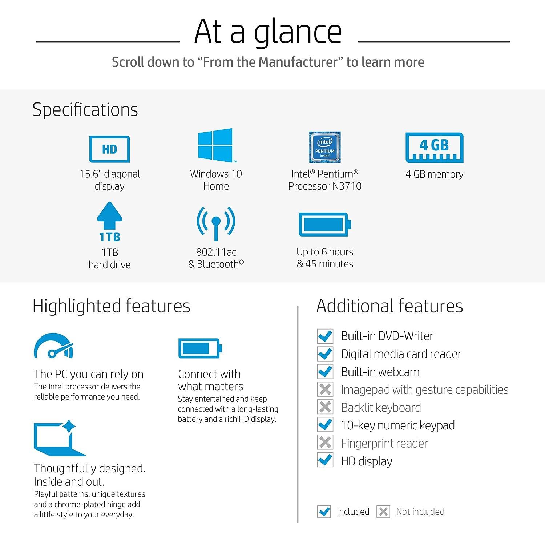Amazon.com: HP 15-inch Laptop, Intel Pentium N3710, 4GB RAM, 1TB hard drive, Windows 10 (15-bs010nr, Gray): Computers & Accessories