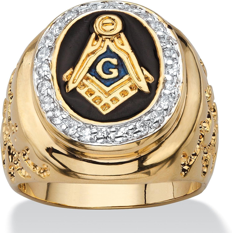 Palm Beach Jewelry Men's 14K Yellow Gold Plated Round Cubic Zirconia Masonic Nugget Ring