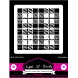 Cookie stencil plaid background cupcake designs for air brush - Royal icing