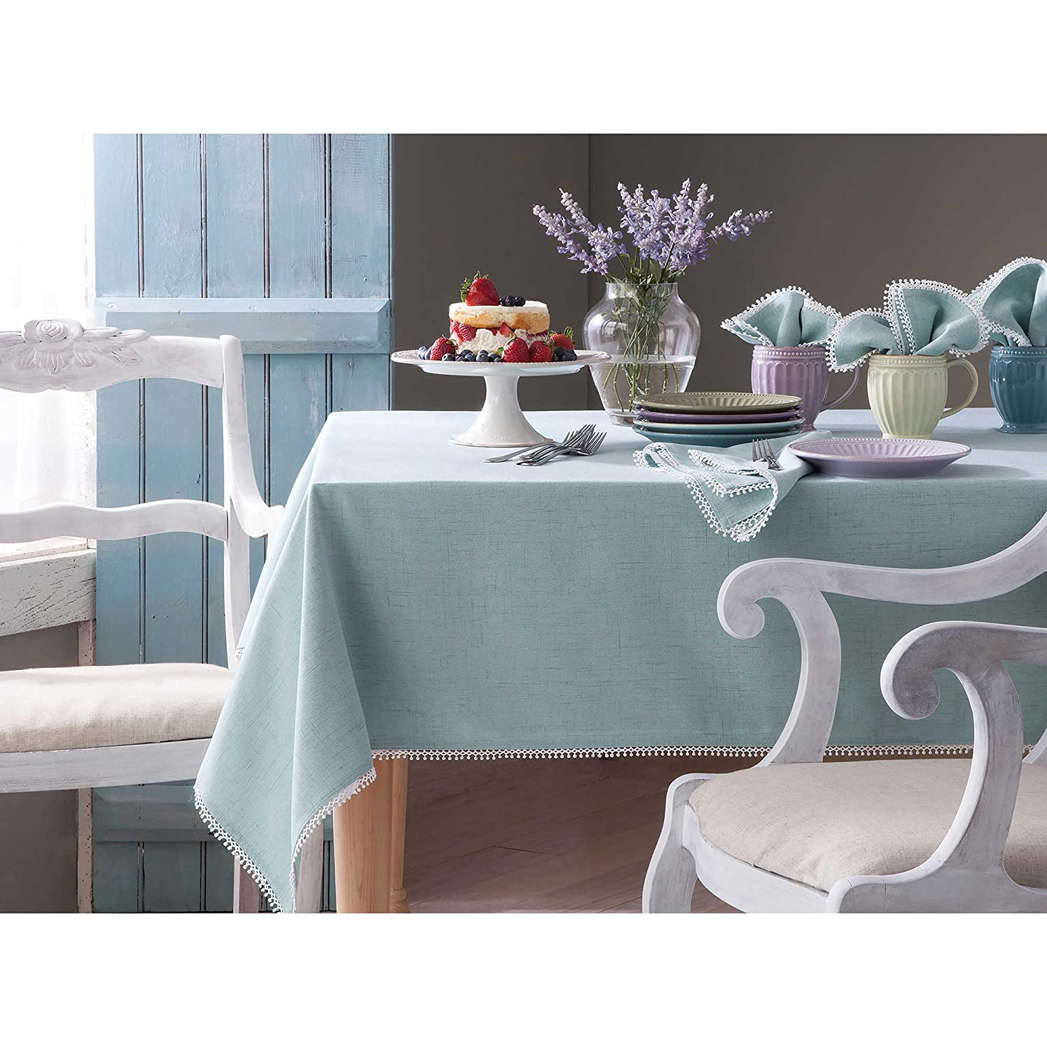 Set Of 4 Lenox HomeCrate French Perle Collection Solid Placemats 13 X 19 Ice Blue