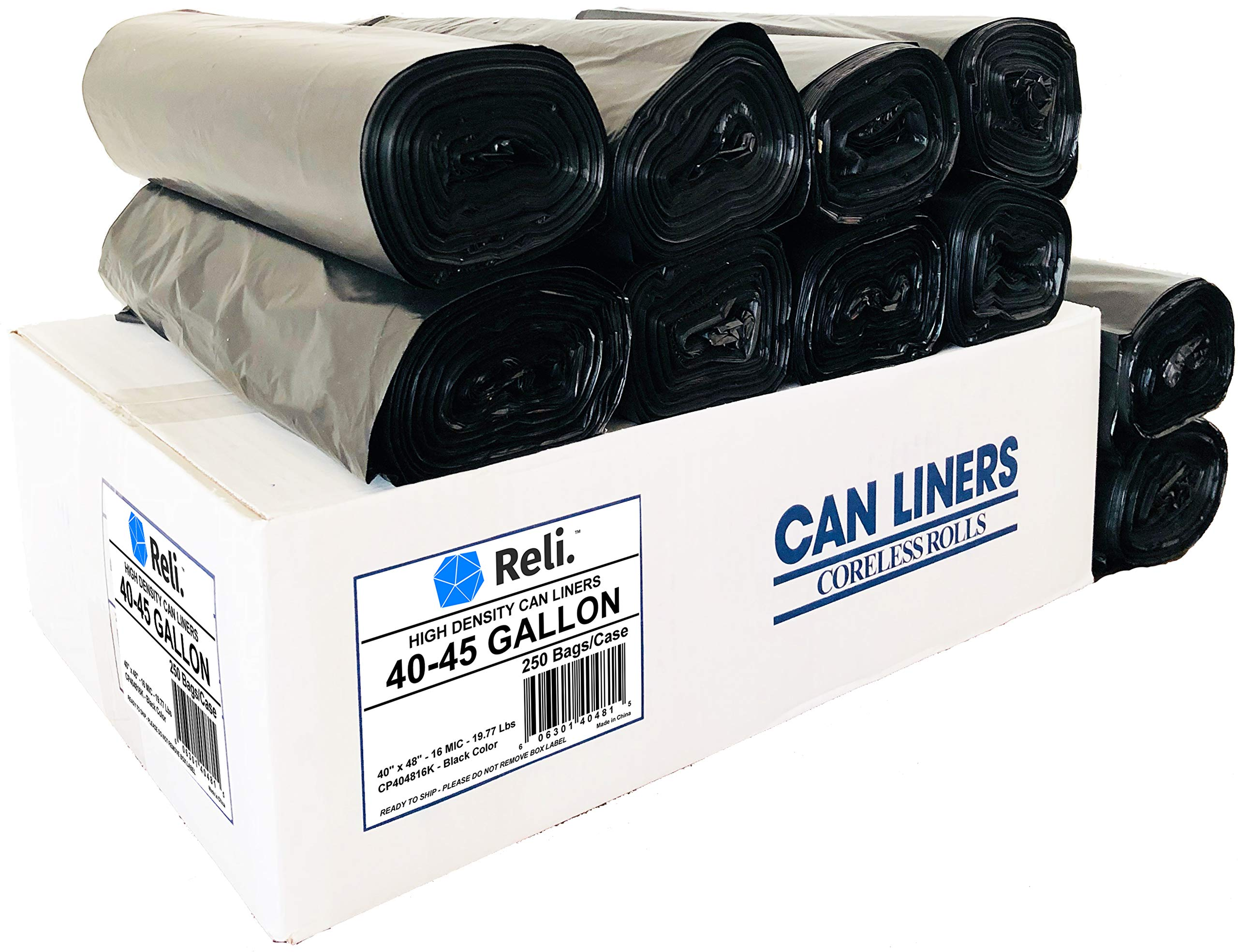 Reli. Trash Bags, 40-45 Gallon (250 Count Wholesale) - Star Seal High Density Rolls (Black) - Can Liners, Garbage Bags with 40 Gallon (40 Gal) to 45 Gallon (45 Gal) Capacity