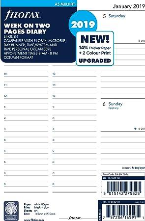 englisch 20 August bis 21 Juli 1 Woche auf 2 Seiten Filofax Kalendereinlage A5