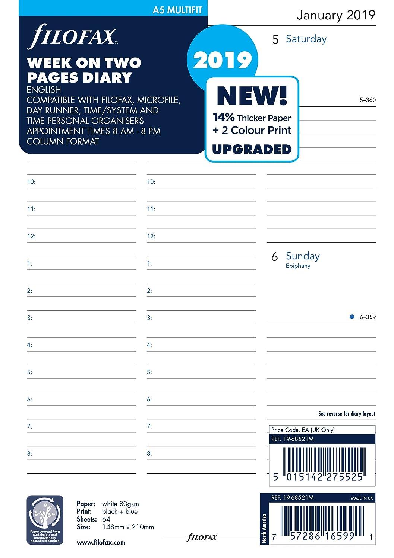 Filofax 19–68521M A5Woche auf zwei Seiten Englisch Multi-Fit 2019Diary 19-68521M