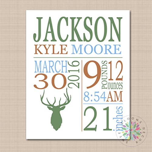 Amazoncom Deer Antler Birth Print Announcement Baby Gift Woodland